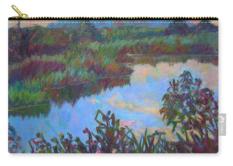 Landscape Carry-all Pouch featuring the painting Huckleberry Line Trail Rain Pond by Kendall Kessler