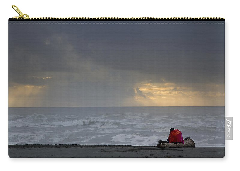 Beach Carry-all Pouch featuring the photograph Huddled On The Beach by Robert Woodward