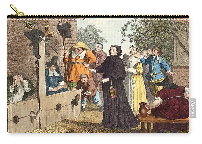 Poem Carry-all Pouch featuring the drawing Hudibras And Ralpho In The Stocks by William Hogarth