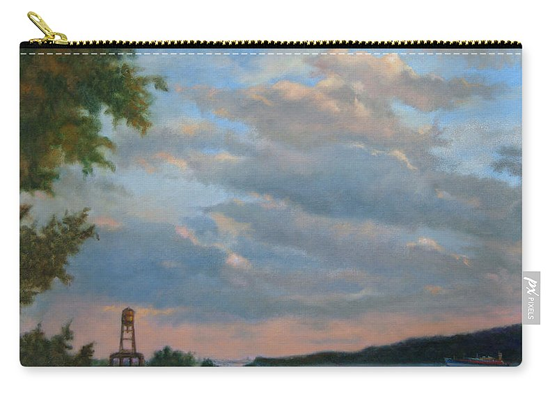 Hudson River Carry-all Pouch featuring the painting Hudson River Skyscape by Phyllis Tarlow