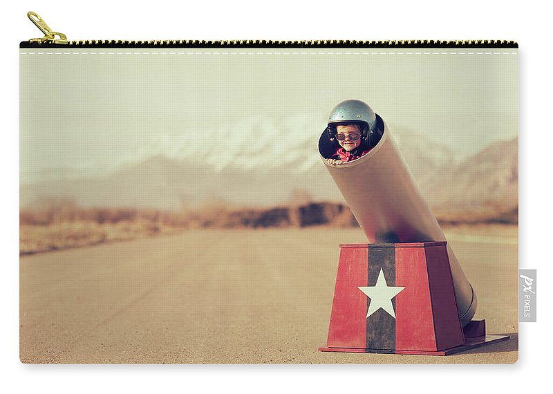 4-5 Years Carry-all Pouch featuring the photograph Human Cannonball by Richvintage