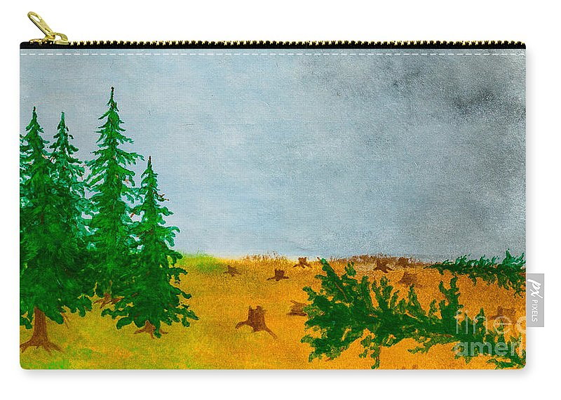 Trees Carry-all Pouch featuring the painting Human Destruction by Stefanie Forck