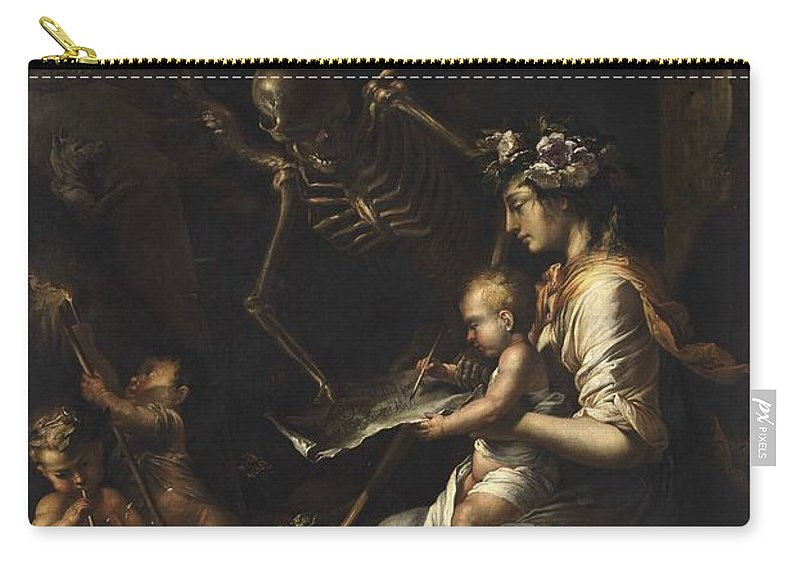 Skeleton Carry-all Pouch featuring the painting Human Frailty, C.1656 by Salvator Rosa