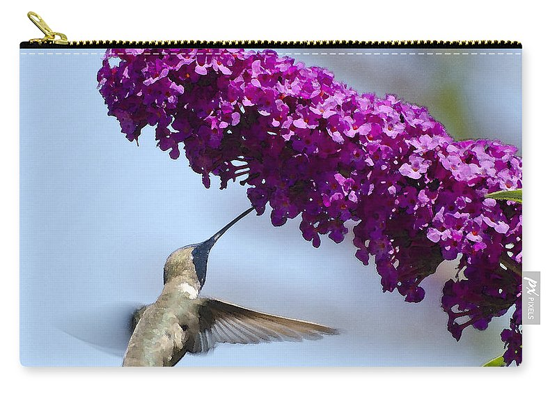 Hummingbird Carry-all Pouch featuring the photograph Hummingbird And Flower by Jim And Emily Bush