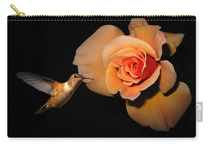 Bird Carry-all Pouch featuring the photograph Hummingbird And Orange Rose by Joyce Dickens