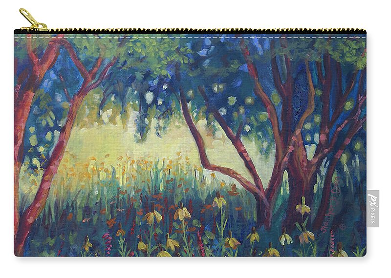 Heather Coen Carry-all Pouch featuring the painting Hummingbird Gardens by Heather Coen
