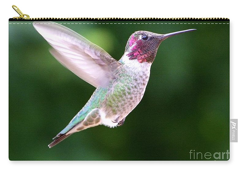 White Carry-all Pouch featuring the photograph Hummingbird In Flight by Mary Deal