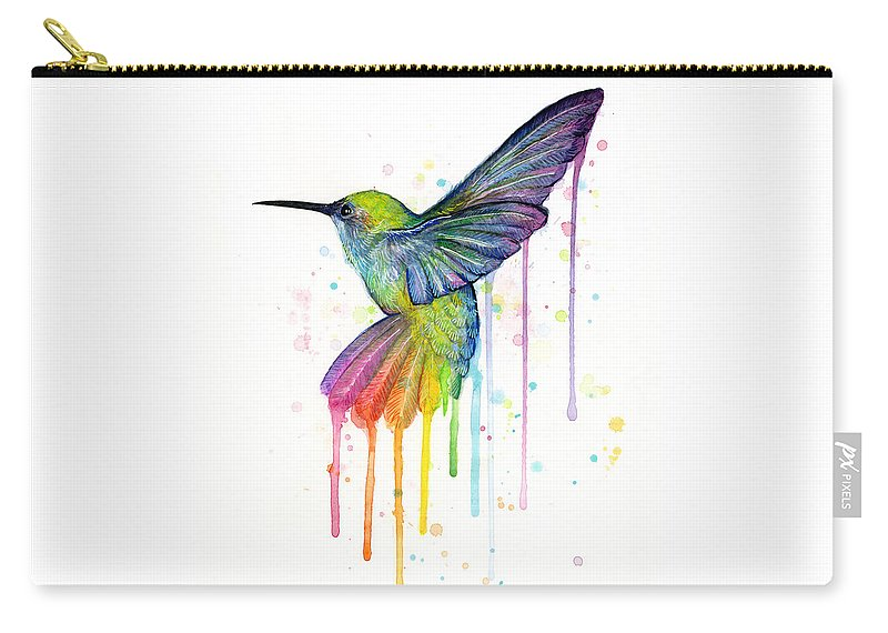 Hummingbird Carry-all Pouch featuring the painting Hummingbird of Watercolor Rainbow by Olga Shvartsur