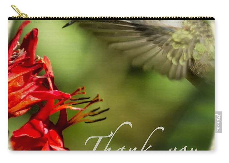 Thank-you Card Carry-all Pouch featuring the photograph Hummingbird Thanks by Belinda Greb