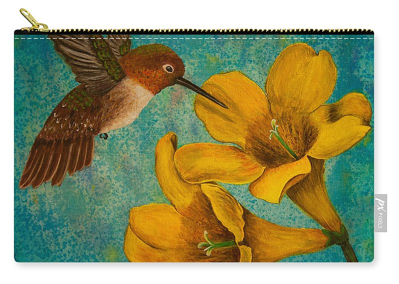 Bird Carry-all Pouch featuring the painting Hummingbird With Yellow Jasmine by Susan Cliett