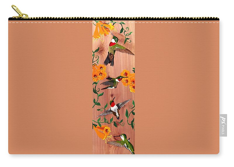 Hummingbird Carry-all Pouch featuring the painting Hummingbirds On Cedar by Debbie LaFrance