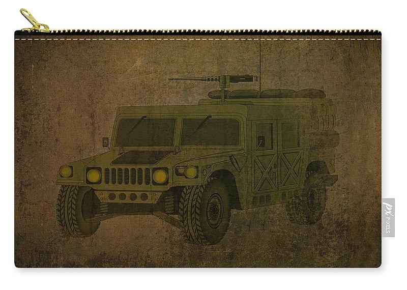 Hummer Carry-all Pouch featuring the drawing Humvee Midnight Desert by Movie Poster Prints