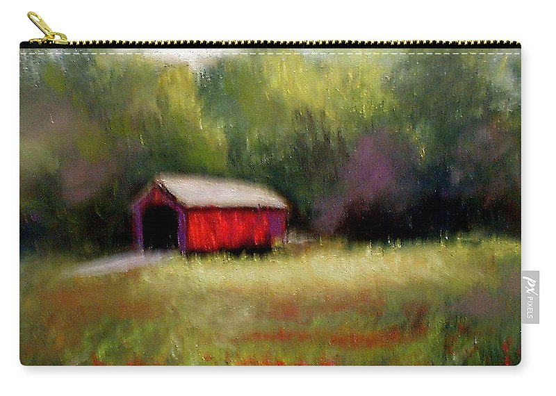 Covered Bridge Carry-all Pouch featuring the painting Hune Bridge by Gail Kirtz