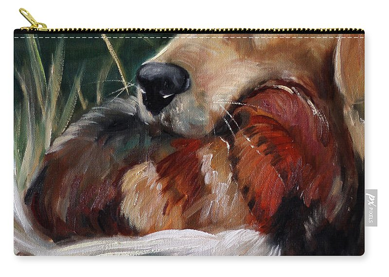 Hunting Dog Carry-all Pouch featuring the painting Hung by Mary Sparrow
