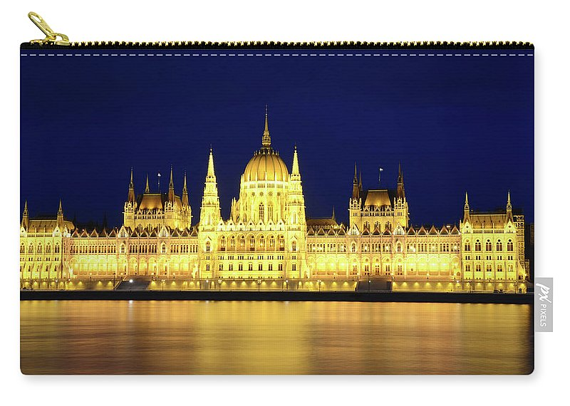 Hungarian Parliament Building Carry-all Pouch featuring the photograph Hungarian Parliament Building, Budapest by Dragos Cosmin Photos