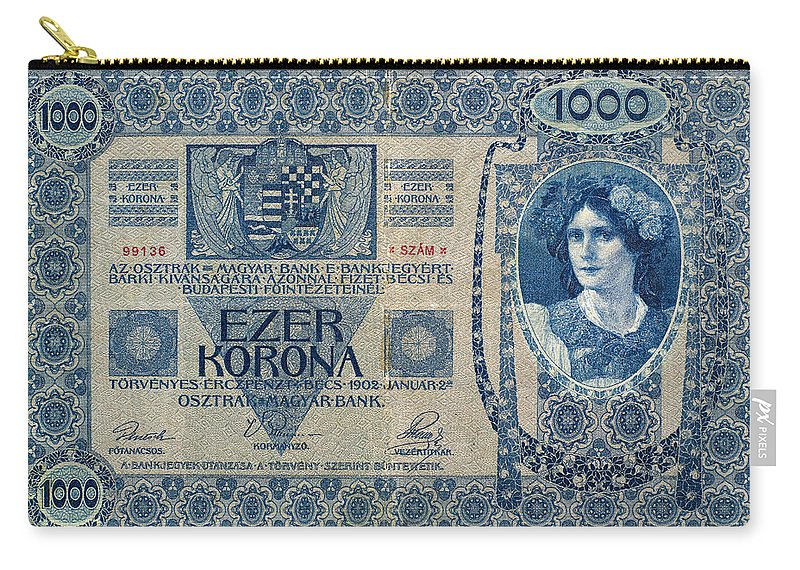 1902 Carry-all Pouch featuring the painting Hungary Banknote, 1902 by Granger