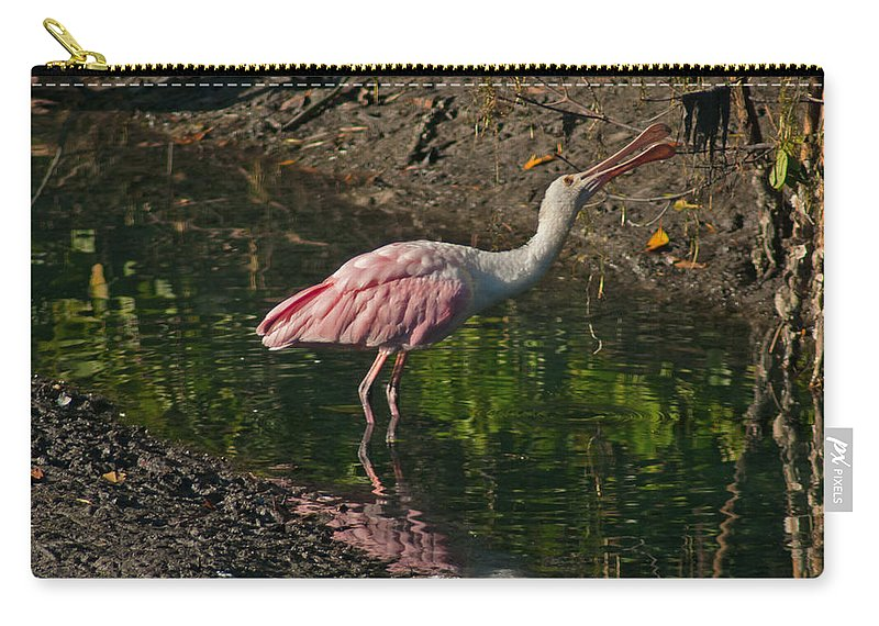 Spoonbill Carry-all Pouch featuring the photograph Hungry Pink Spoonbill by Stephen Whalen