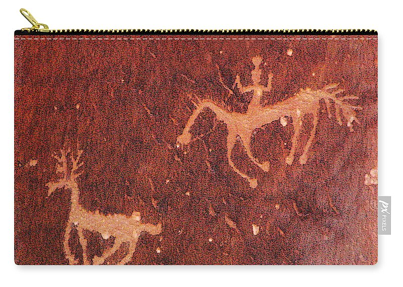 Petroglyph Carry-all Pouch featuring the photograph Hunter And The Hunted by Joe Kozlowski