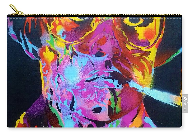 Hunter S Thompson Carry-all Pouch featuring the painting Hunter S Thompson by Leon Keay