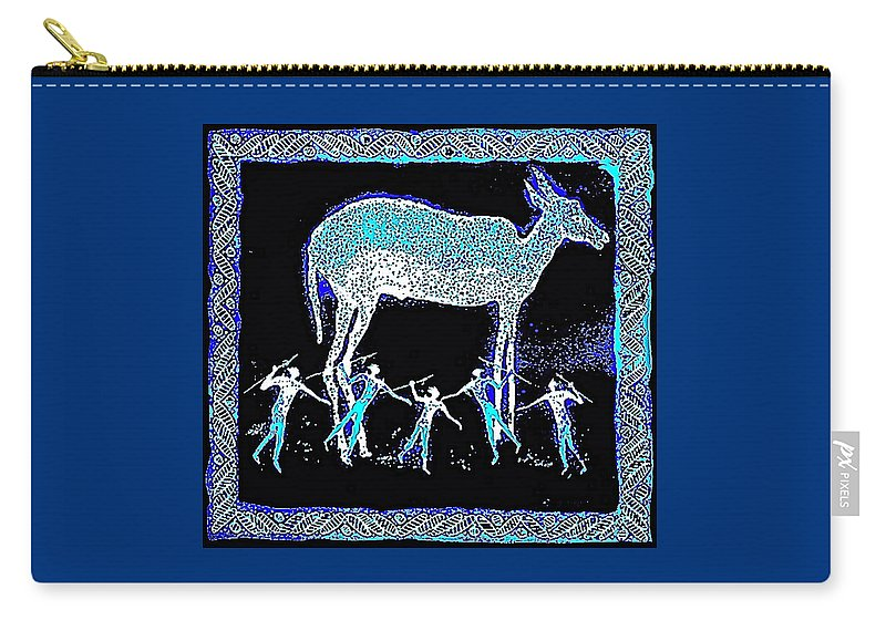 Night Hunt Carry-all Pouch featuring the mixed media Hunters Dream by Hartmut Jager
