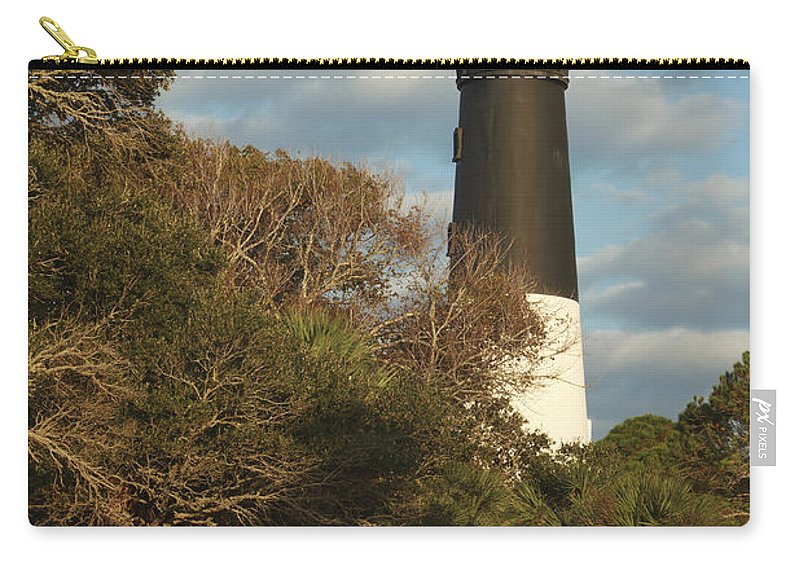 Hunting Island State Park Carry-all Pouch featuring the photograph Hunting Island Lighthouse 1 by Maria Struss