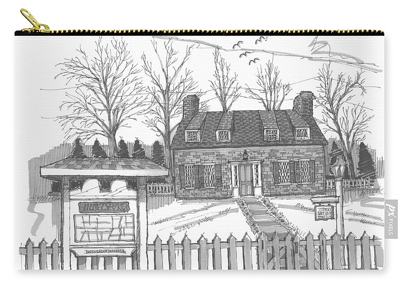 Hurley Carry-all Pouch featuring the drawing Hurley Historical Society by Richard Wambach