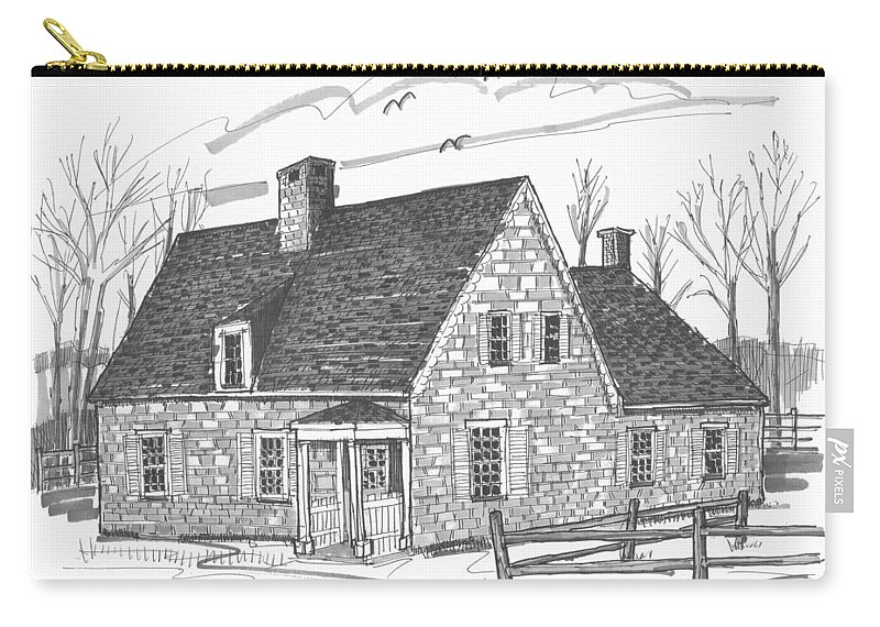 Hurley Carry-all Pouch featuring the drawing Hurley Stone House by Richard Wambach