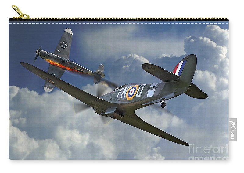 Raf Hurricane Carry-all Pouch featuring the digital art Hurricane Victory by J Biggadike