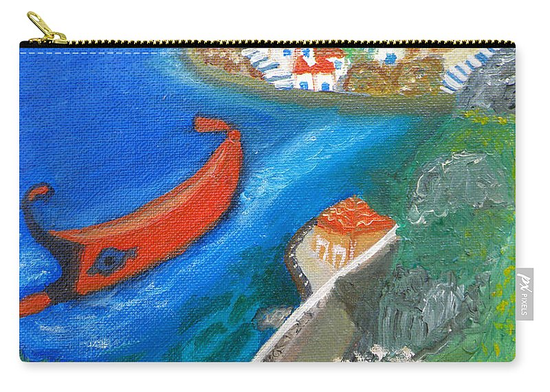 Hydra Carry-all Pouch featuring the painting Hydra Island by Augusta Stylianou
