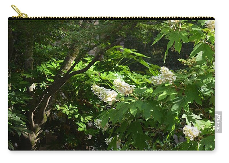 Hydrangea Path Carry-all Pouch featuring the photograph Hydrangea Path by Maria Urso