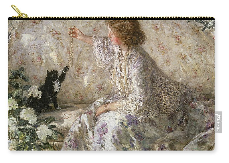 Cat Carry-all Pouch featuring the painting Hydrangeas, 1901 by Philip Wilson Steer