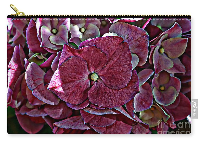 Nature Carry-all Pouch featuring the photograph Hydrangeas In Rich Rose Color by Debbie Portwood