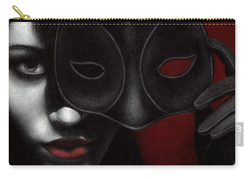Woman Carry-all Pouch featuring the painting I Am Only What I Allow You To See by Pat Erickson