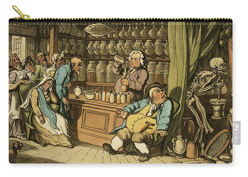 Print Carry-all Pouch featuring the drawing I Have A Secret Art To Cureeach Malady by Thomas Rowlandson