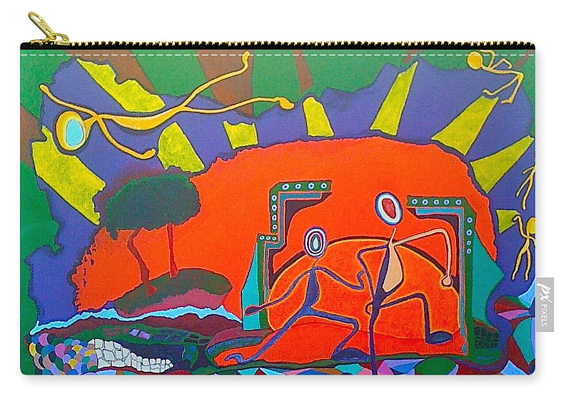 Bright Carry-all Pouch featuring the painting I Love Line Dancing by Catherine Helmick