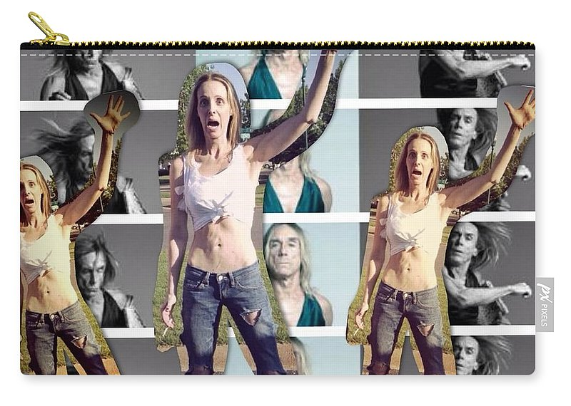#photo Carry-all Pouch featuring the digital art I Love You Iggy Pop by Lisa Piper
