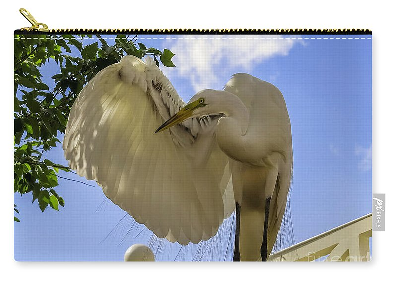 Great Egret Carry-all Pouch featuring the photograph I Salute You by Zina Stromberg