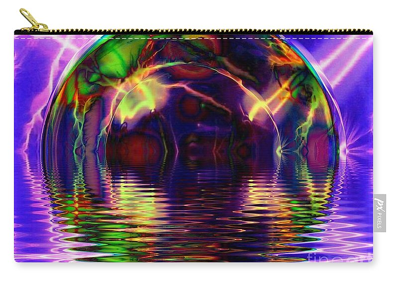 Fractal Art Carry-all Pouch featuring the digital art I Sing The Bubble Electric by Elizabeth McTaggart