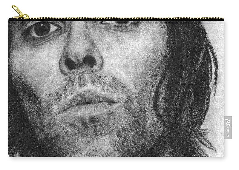 Ian Brown Carry-all Pouch featuring the drawing Ian Brown Pencil Drawing by David Rives