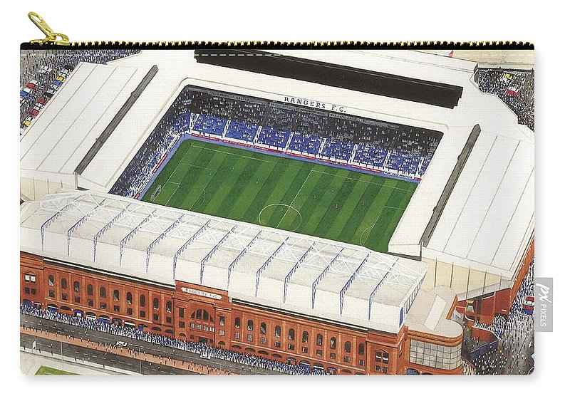 Glasgow Carry-all Pouch featuring the painting Ibrox Stadium by Kevin Fletcher