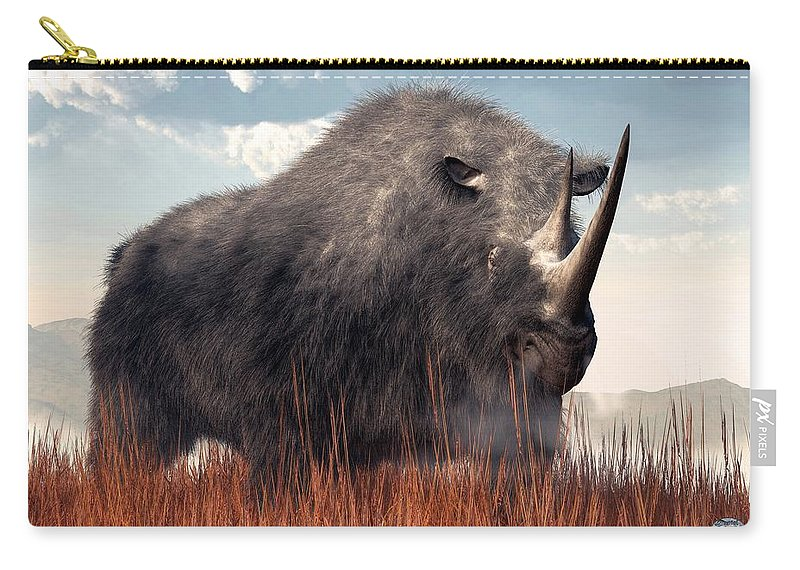 Ice Age Rhino Carry-all Pouch featuring the digital art Ice Age Rhino by Daniel Eskridge
