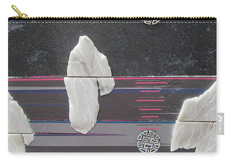 Assemblage Carry-all Pouch featuring the mixed media Ice Bergs by Elaine Booth-Kallweit