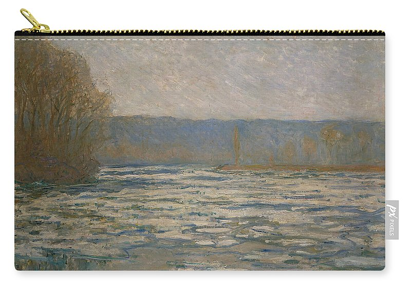 Claude Monet Carry-all Pouch featuring the painting Ice Breaking Up On The Seine by Claude Monet