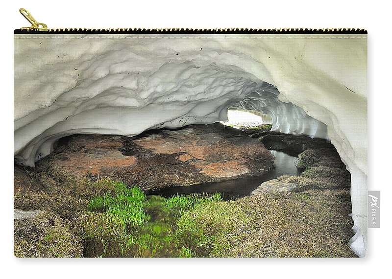 Cave Carry-all Pouch featuring the photograph Ice Cave At The Mountains by Guido Montanes Castillo
