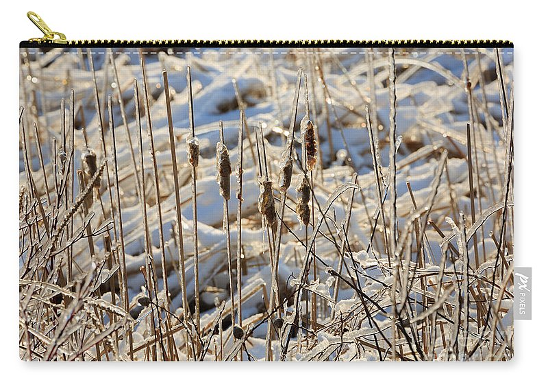 Ice Carry-all Pouch featuring the photograph Ice Coated Bullrushes by Louise Heusinkveld