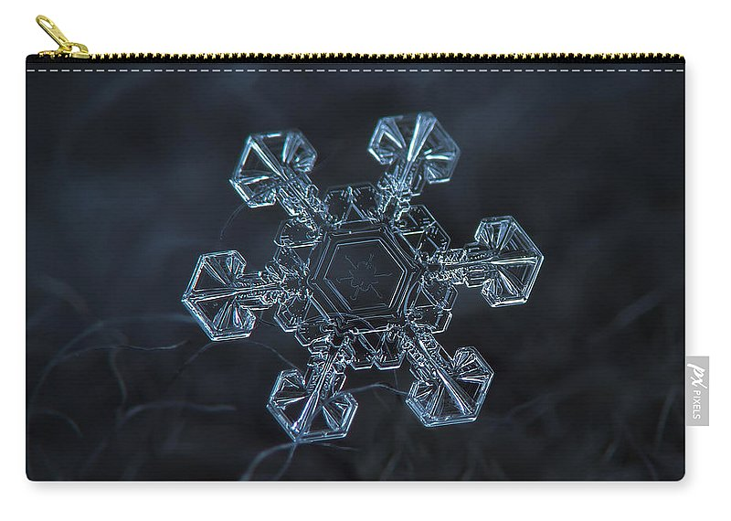 Snowflake Carry-all Pouch featuring the photograph Snowflake Photo - Ice Crown by Alexey Kljatov
