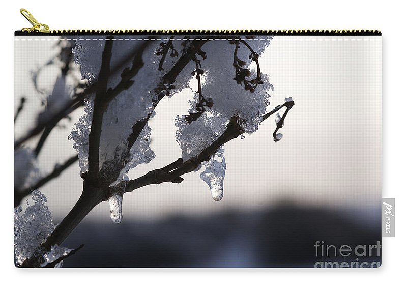 Snow Carry-all Pouch featuring the photograph Ice Drop by Carol Lynch