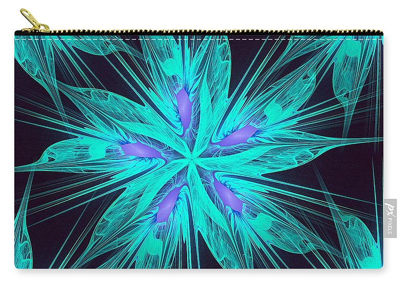 Abstract Carry-all Pouch featuring the digital art Ice Flower by Anastasiya Malakhova