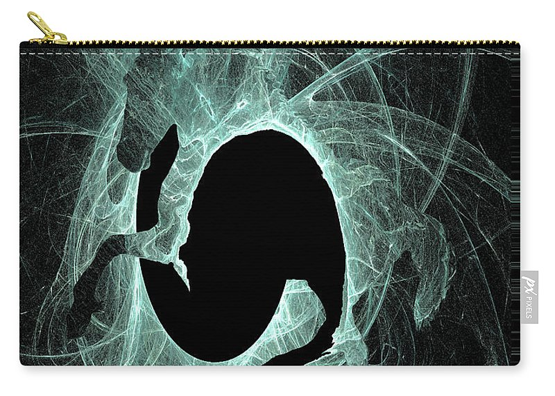 Friesian Horse Carry-all Pouch featuring the digital art Ice Fractal Friesian by Andrea Lawrence