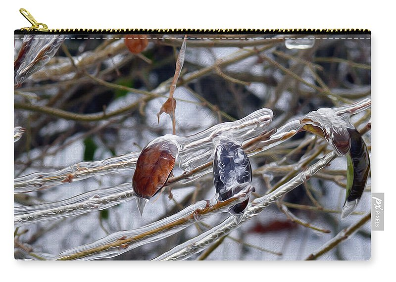 Ice Incased Leaves Carry-all Pouch featuring the photograph Ice Incased Leaves by Tracy Winter